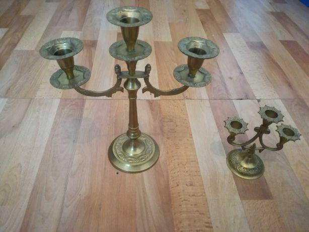 Świecznik stojący świeczniki mosiądz brąz 30cm i 15cm wysokość  Poznań