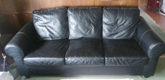 sofá ikea 3 lugares preto