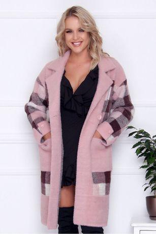 Płaszcz damski długi z alpaki z guzikami kieszenie