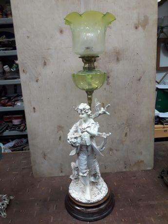 Lampa naftowa, ceramika, antyk.