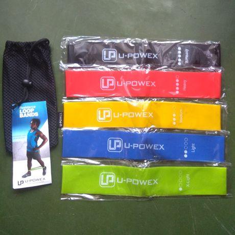 Фитнес резинки U-Powex для фитнеса. Оригинал, 5 шт, буклет, мешочек