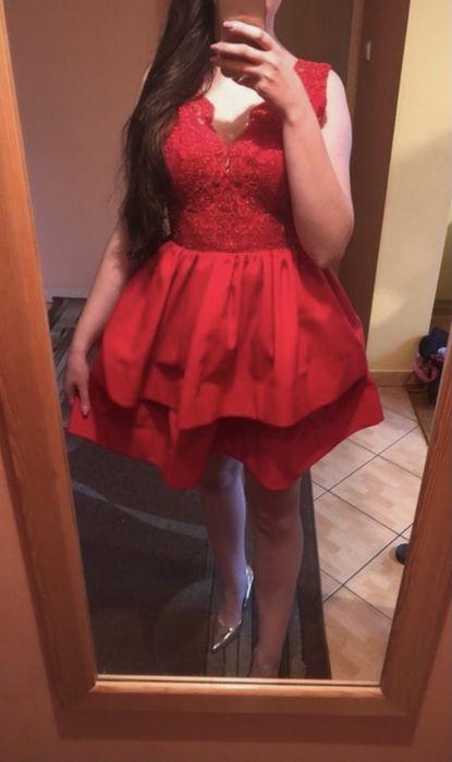 Sukienka czerwona, koronkowa, rozkloszowana, 36 S Wołomin - image 1