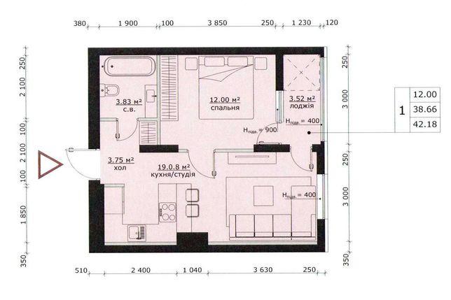 Продам 1 кім квартиру 42,2 кв.м., ЖК Бетховен