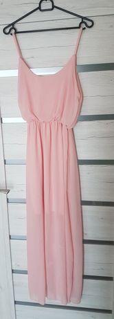 Delikatna sukienka różowa mgiełka S/M