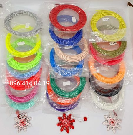 Набор PLA пластика 200м для 3D ручки 20цветов по 10м PLA нить 1,75мм