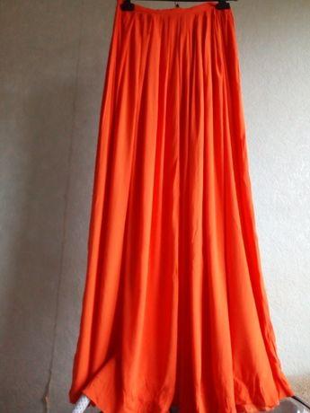 Юбка в пол макси черная оранжевая