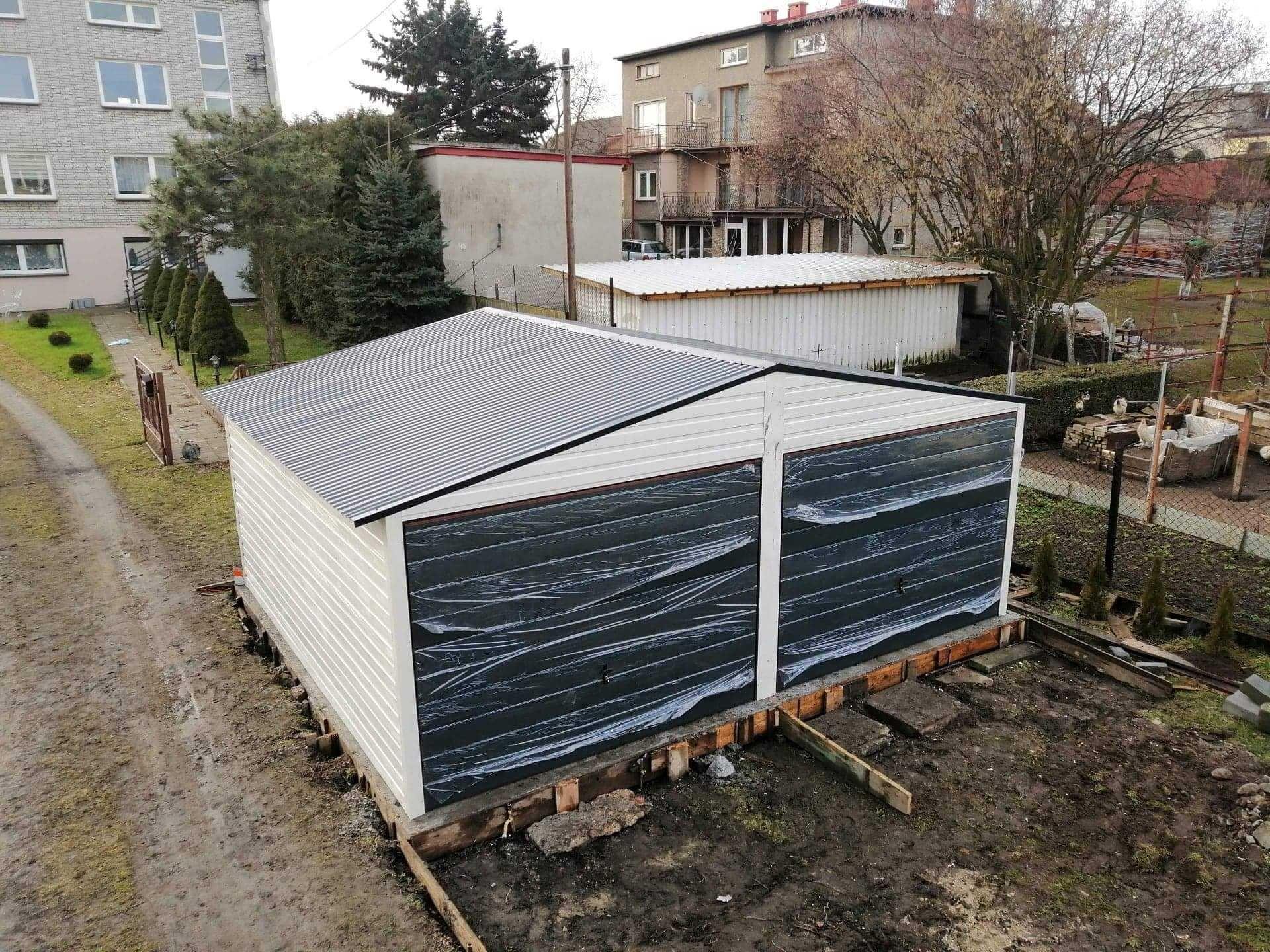 Garaże blaszane, garaż 6x5.8, dwuspadowy dach, wzmicniony profilem,