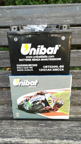 Akumulator UNIBAT CBTX24HL-BS 12V 21AH YTX24HL-BS Wwa Virago AGM ŻEL