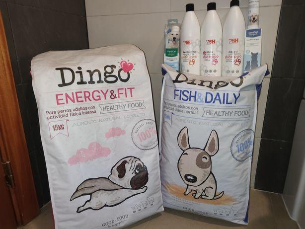 Ração para cão, Champô Cães, Pasta dentes, spray dental Dingo