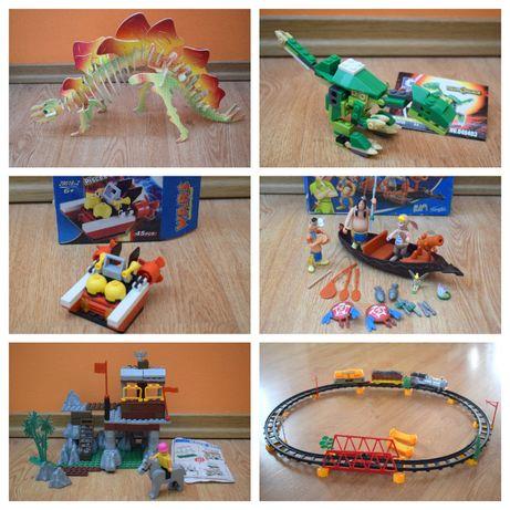 Mega zestaw zabawek dla chłopaka. Pociąg, dinozaury, zamek