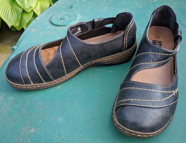 Женские летние туфли, кожзам, 39 р, черные