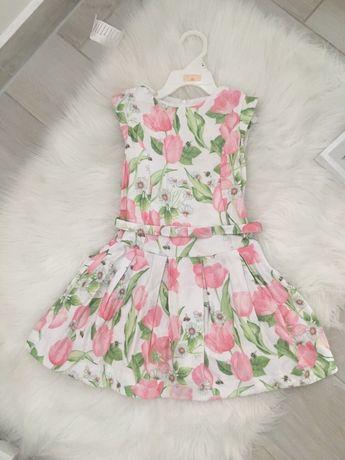 Sprzedam sliczna sukienkę w tulipany Mayoral r116