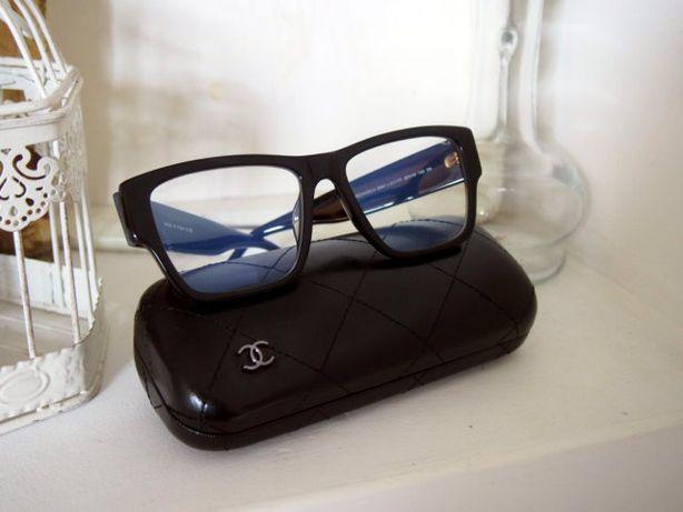 Chanel okulary zerówki damskie czarne oprawki napis