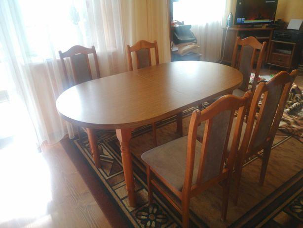Stoł rozkładany z krzesłami +6 krzeseł