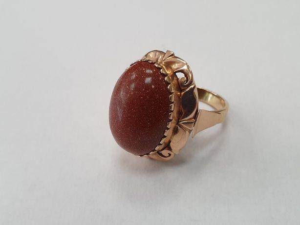 Piasek pustyni! Duży złoty pierścionek/ 585/ 8.8 gram/ R14/ Gdynia