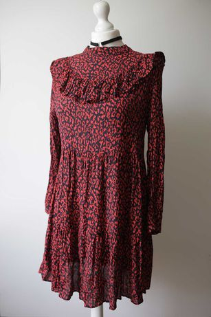 Zara sukienka print retro Vintage folk boho