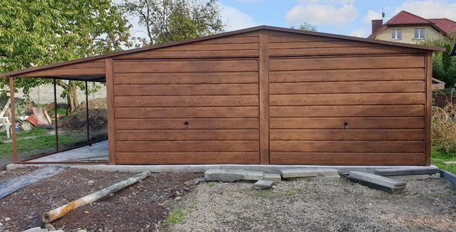 Garaże Drewnopodobne 8x6 plus wiata 2m Nowość