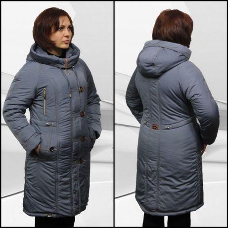 Женская зимняя удлинененная куртка р.54