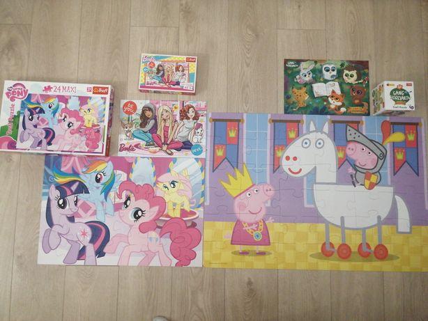Zestaw puzzli :Barbie, gang słodziakow, świnka pepa, kucyki pony.