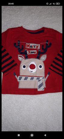 Bluzka świąteczna tshirt długi rękaw 80 renifer