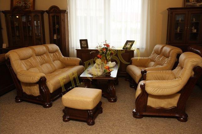 Новый кожаный диван и кресло Шкіряний диван та крісло Cezar 3+1