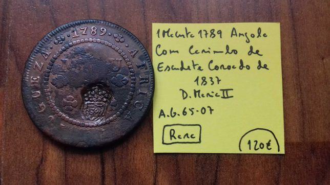 Moeda 1 Macuta 1789 C/Carimbo Escudete 1837 (Rara)
