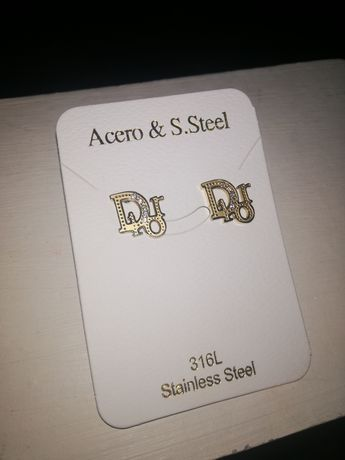 Kolczyki wkrętki złote Dior stal nierdzewna chirurgiczna 316L