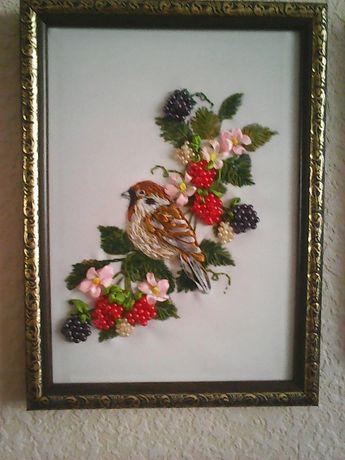 подарок к любому празднику - картина, вышивка лентами