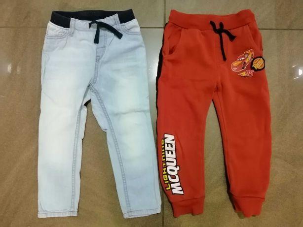 2x spodnie r. 98 dżinsy H&M dresy Zygzak dla chłopca