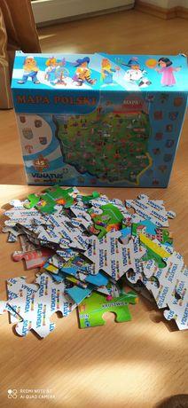 Mapa Polski- puzzle 45 elementów 1+