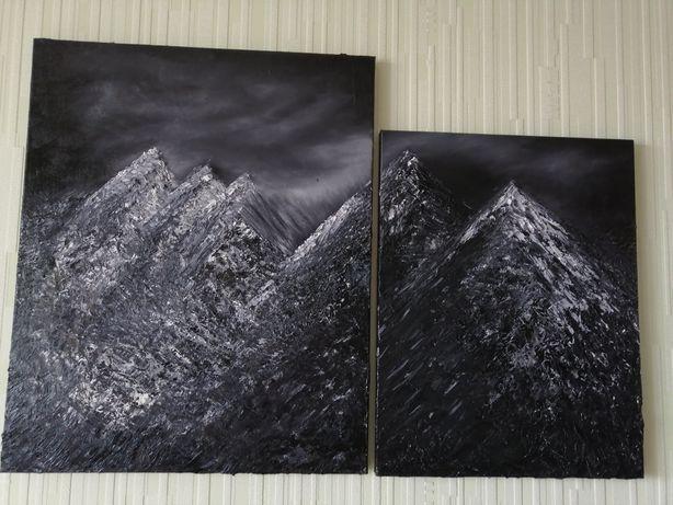 Картины интерьерные пара холст масло мастихин фактурная живопись 6000