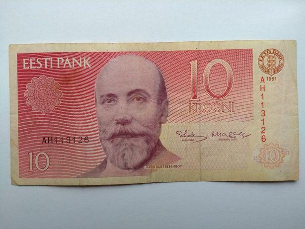 Банкнота. Эстония. 10 крон 1991 год