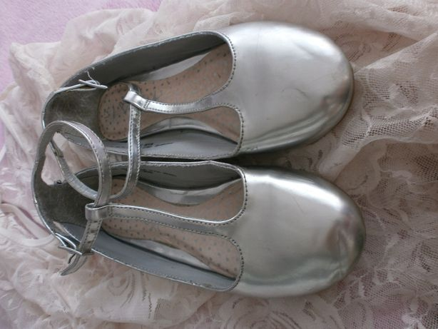 Next balerinki srebrne metaliczne UK 12 r 30/31