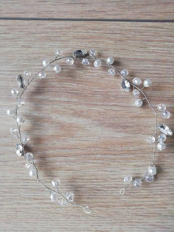 Ozdoba do włosów ślubna gałązka cyrkonie - srebrna