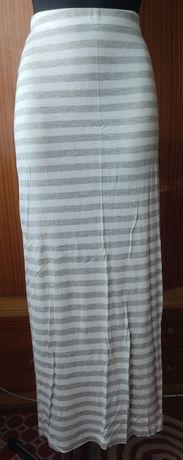 Nowa spódnica maxi paski pasiak marynarska szara grey