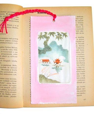 różowa zakładka do książki,jedwab malowany,elegancka zakładka kobieca