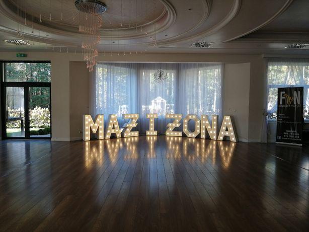 Sprzedam 2 napisy dekoracyjne LED na wesela, Litery MĄŻ i ŻONA i LOVE