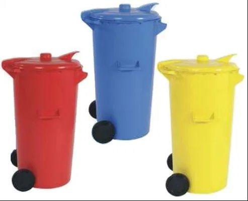 Ecoponto balde contentor reciclagem 110 Litros - Vermelho+Amarelo+Azul