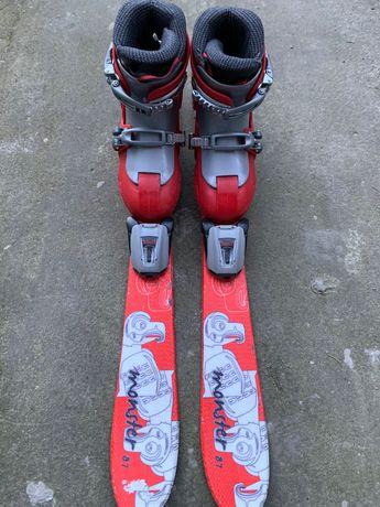 Narty 87 cm z wiązaniami + buty
