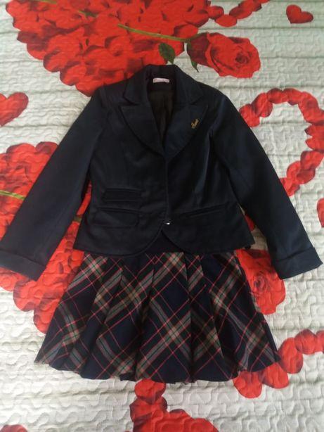 Лот Шкільна форма, піджак, спідничка, юбка 128