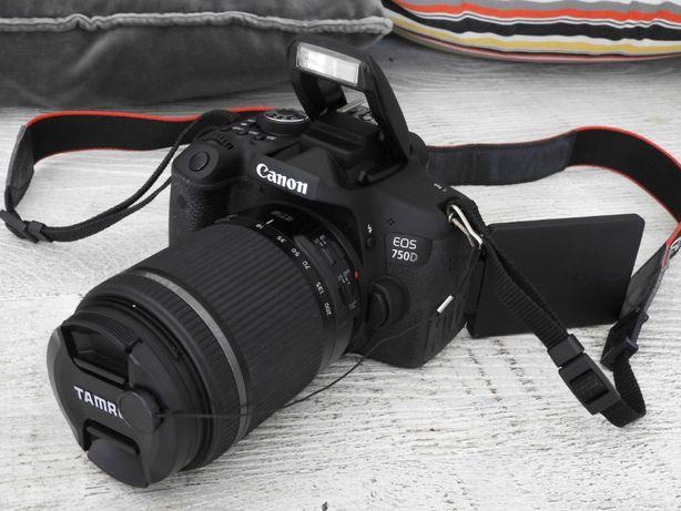 Aparat lustrzanka Canon 750d + Tamron 18-200mm f/3.5-6.3 + akcesoria