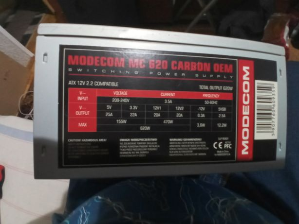 Sprzedam zasilacz Modecom MC 620 Carbon Oem