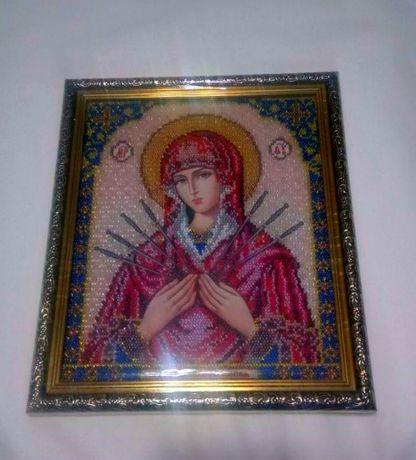 Семистрельная икона Божией Матери бисер ручная работа