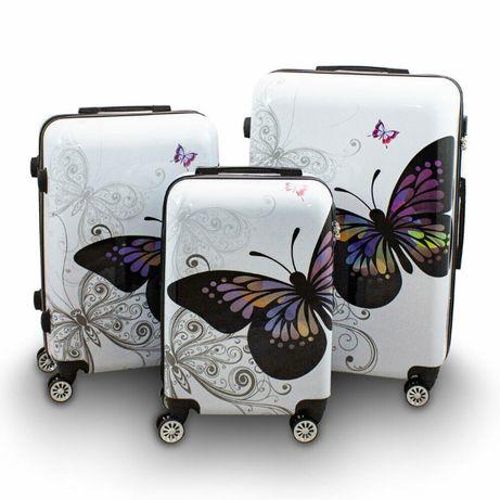 17185 Podróżne walizki BERWIN BUTTERFLY 3szt lekkie solidne NOWOŚĆ
