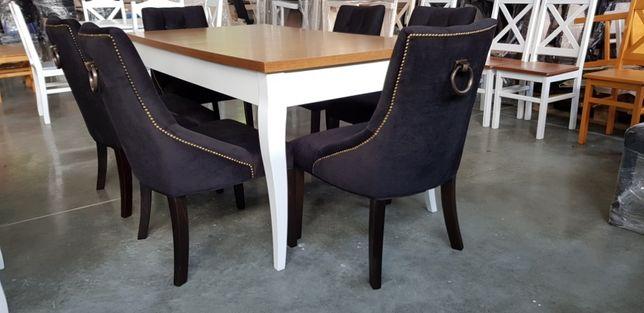 Krzesło glamour Chesterfield z kołatką i pinezkami- stare złoto nowe