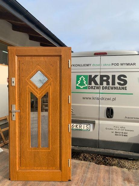 Drzwi zewnętrzne drewniane dębowe ocieplana grube 75mm kolor złoty dąb