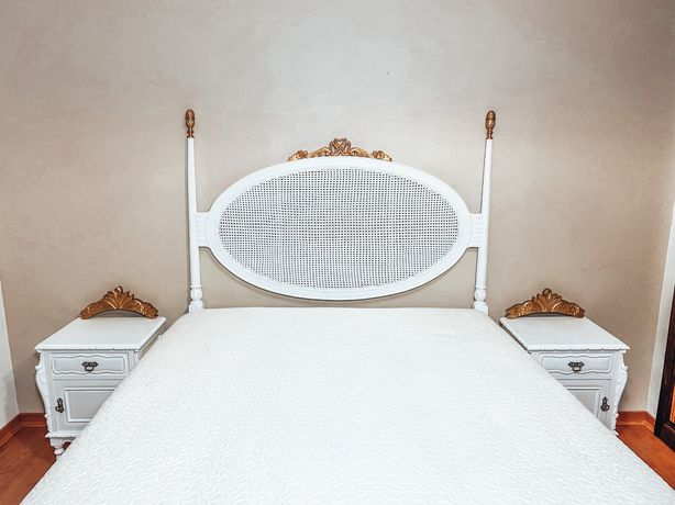 Cabeceira cama palhinha, mesas cabeceira, espelho