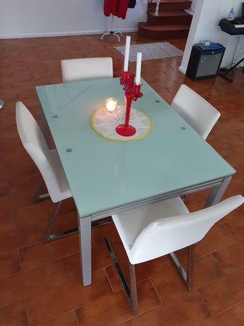 Mesa moderna em vidro temperado fosco antimancha