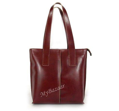 Skórzana torba na ramię skóra licowa Vera Pelle Włoska