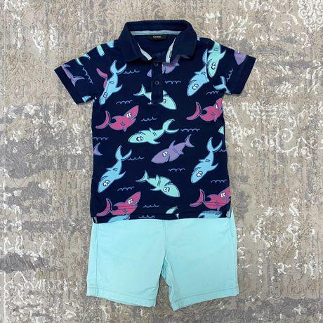 Красивый детский летний костюм костюмчик: футболка-поло и шорты 2-3 г